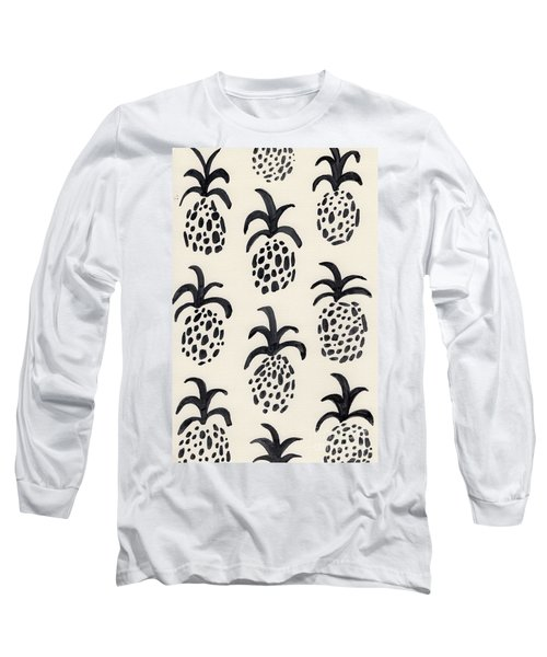 B And W Pineapple Print Long Sleeve T-Shirt