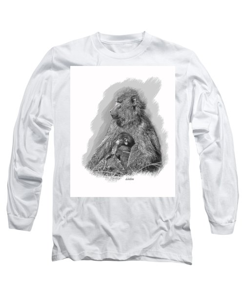 Baboon Mother And Young Long Sleeve T-Shirt