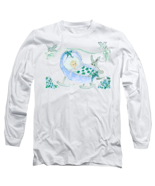 Baby Boy With Bunny And Birds Long Sleeve T-Shirt