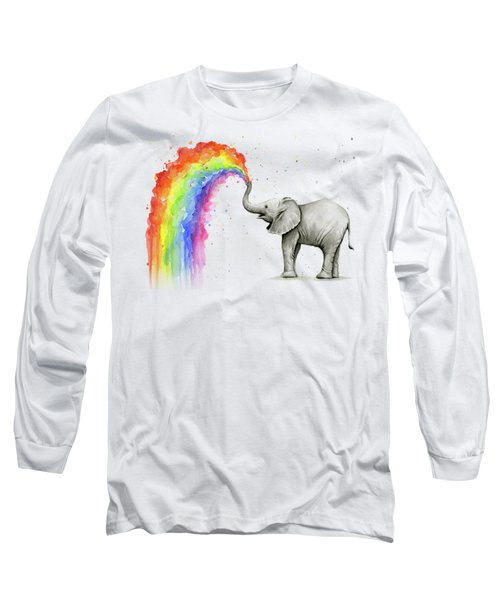 Baby Elephant Spraying Rainbow Long Sleeve T-Shirt