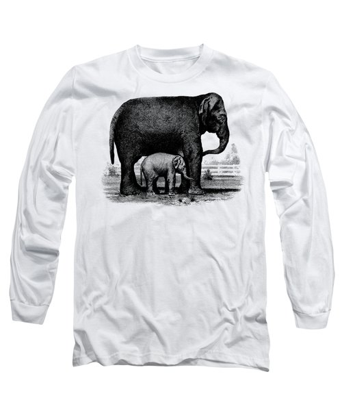 Baby Elephant T-shirt Long Sleeve T-Shirt by Edward Fielding
