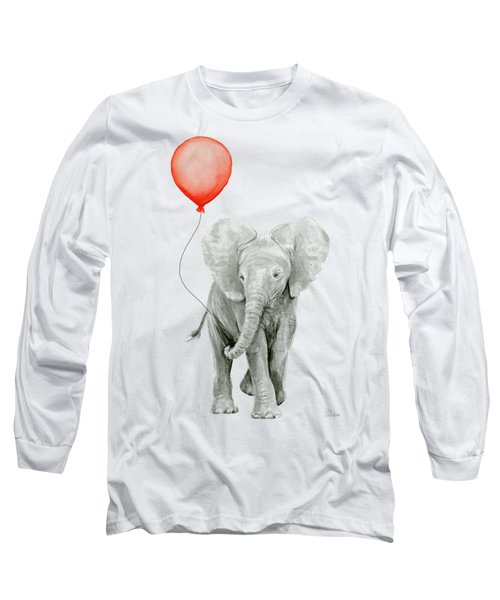 Baby Elephant Watercolor Red Balloon Long Sleeve T-Shirt