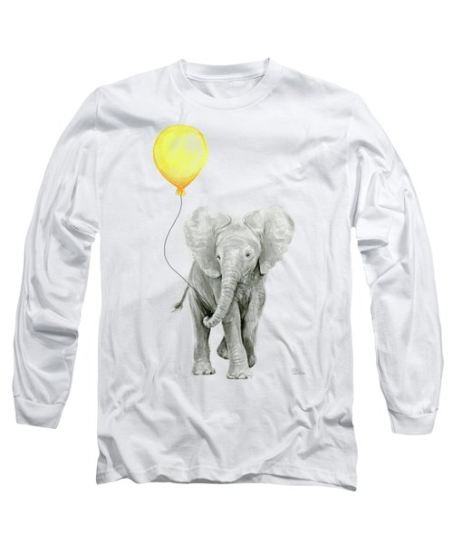 Baby Elephant Watercolor With Yellow Balloon Long Sleeve T-Shirt