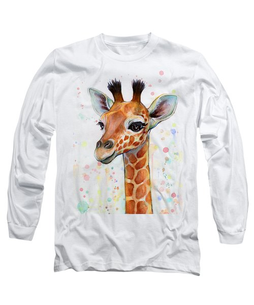 Baby Giraffe Watercolor  Long Sleeve T-Shirt by Olga Shvartsur