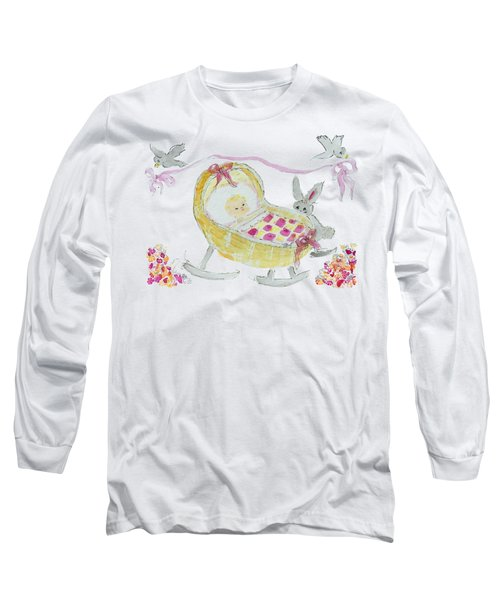 Baby Girl With Bunny And Birds Long Sleeve T-Shirt