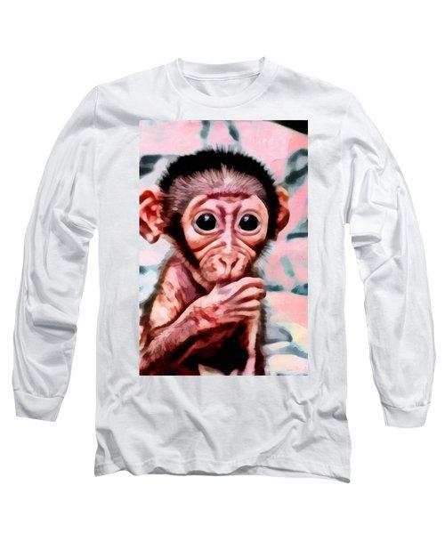 Baby Monkey Realistic Long Sleeve T-Shirt