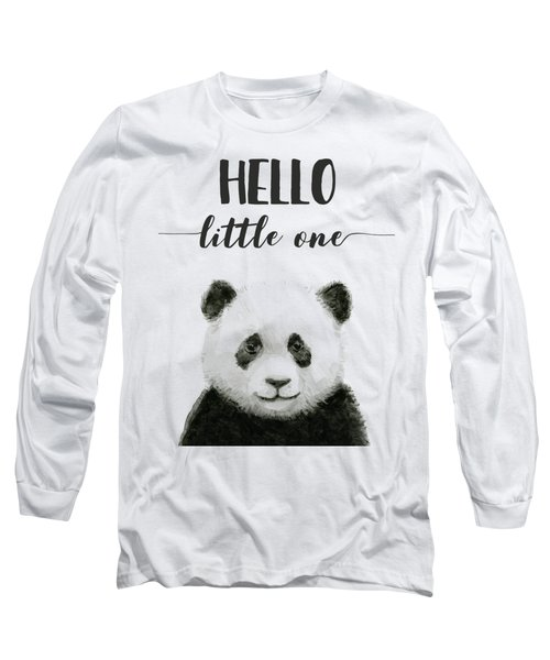 Baby Panda Hello Little One Nursery Decor Long Sleeve T-Shirt