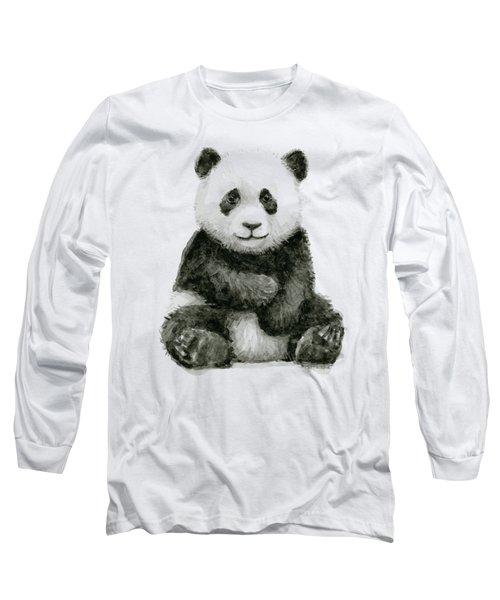 Baby Panda Watercolor Long Sleeve T-Shirt