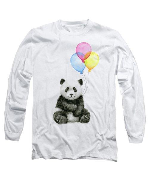 Baby Panda Watercolor With Balloons Long Sleeve T-Shirt