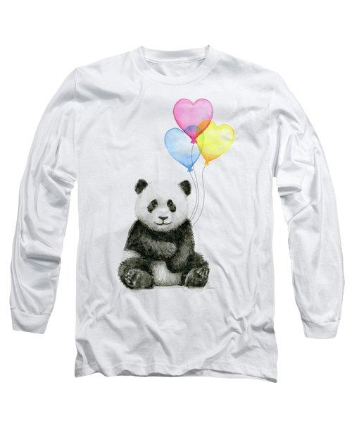 Baby Panda With Heart-shaped Balloons Long Sleeve T-Shirt by Olga Shvartsur