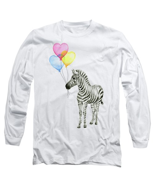 Baby Zebra Watercolor Animal With Balloons Long Sleeve T-Shirt