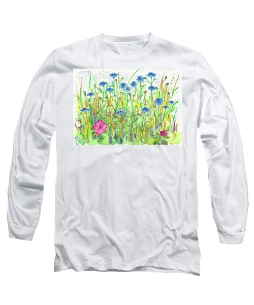 Long Sleeve T-Shirt featuring the painting Bachelor Button Meadow by Cathie Richardson