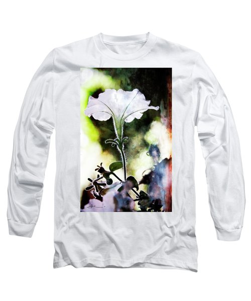 Backlit White Flower Long Sleeve T-Shirt