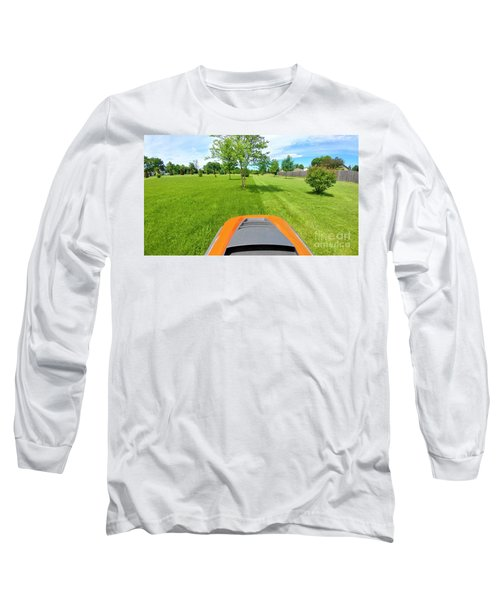 Long Sleeve T-Shirt featuring the photograph Backyard Mowing by Ricky L Jones