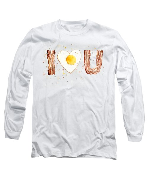 Bacon And Egg I Heart You Watercolor Long Sleeve T-Shirt by Olga Shvartsur