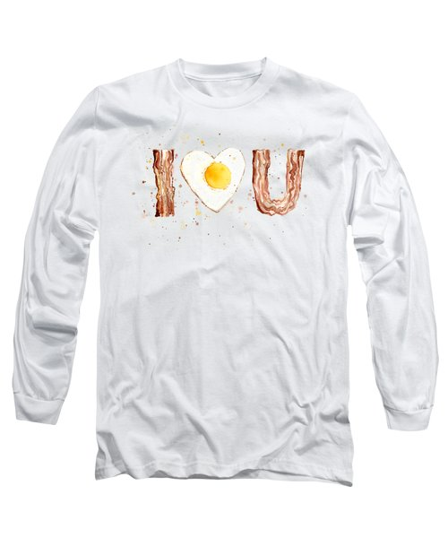 Bacon And Egg I Heart You Watercolor Long Sleeve T-Shirt