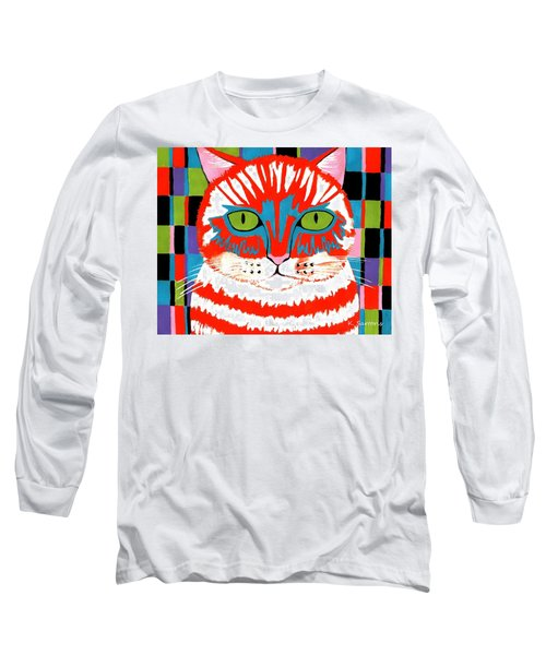 Long Sleeve T-Shirt featuring the painting Bad Cattitude by Kathleen Sartoris