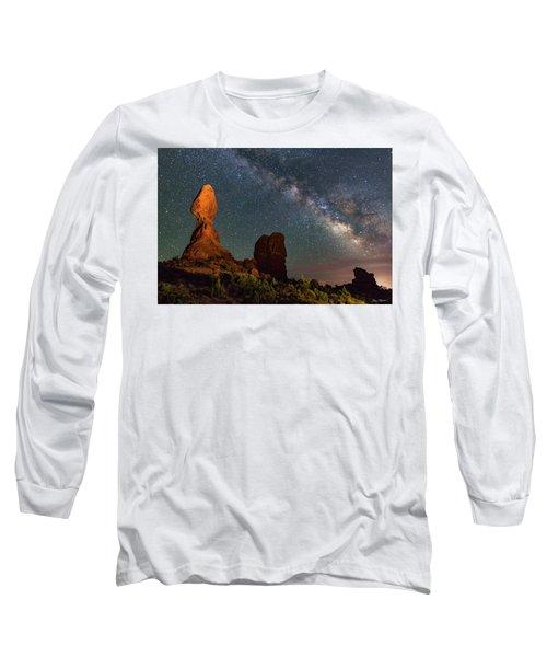 Balanced Rock And Milky Way Long Sleeve T-Shirt
