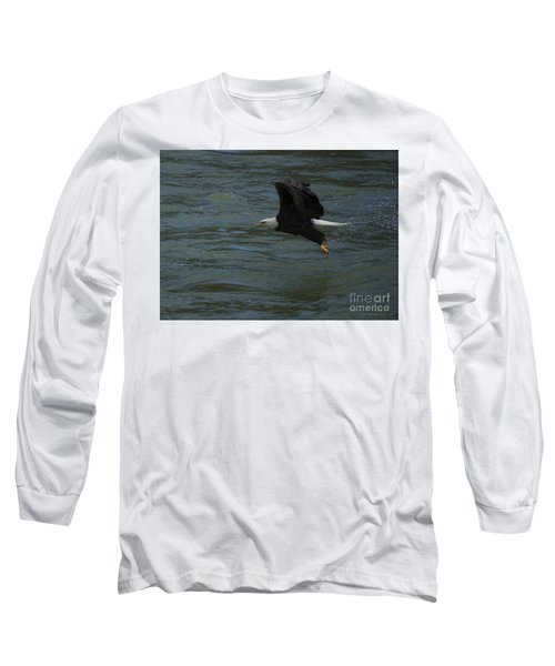 Bald Eagle With Fish In Claws Flying Over The French Broad River, Tennessee Long Sleeve T-Shirt