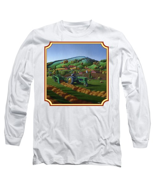 Baling Hay Field - John Deere Tractor - Farm Country Landscape Square Format Long Sleeve T-Shirt