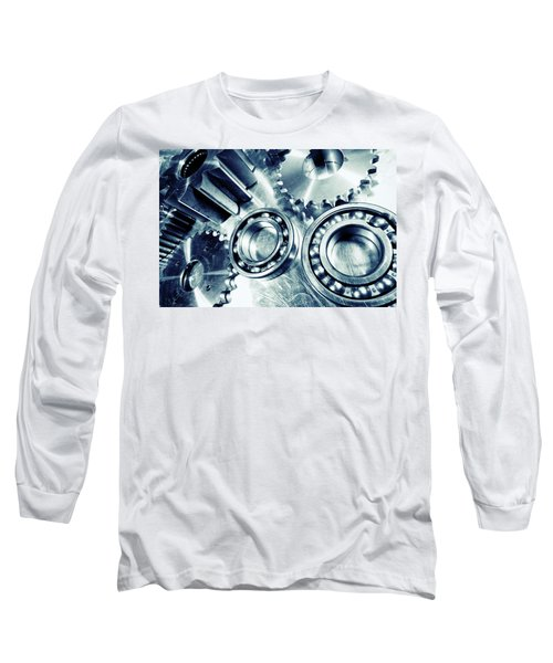 Ball-bearings And Cogs In Titanium Long Sleeve T-Shirt by Christian Lagereek