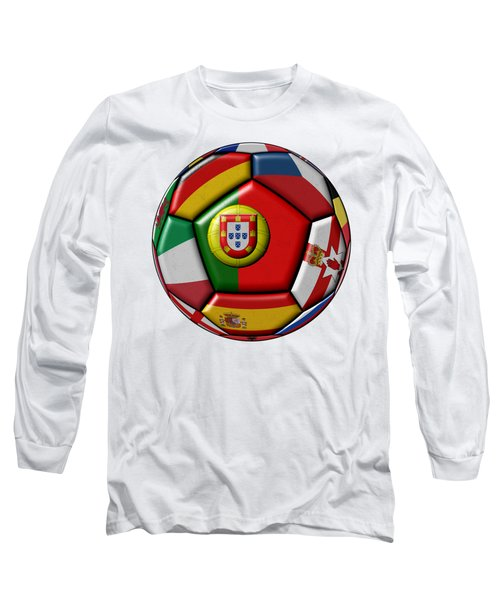 Ball With Flag Of Portugal In The Center Long Sleeve T-Shirt by Michal Boubin