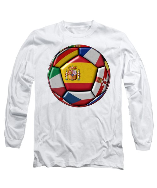 Ball With Flag Of Spain In The Center Long Sleeve T-Shirt by Michal Boubin