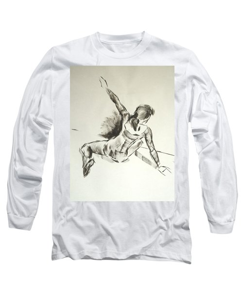 Ballet Dancer Sitting On Floor With Weight On Her Right Arm Long Sleeve T-Shirt