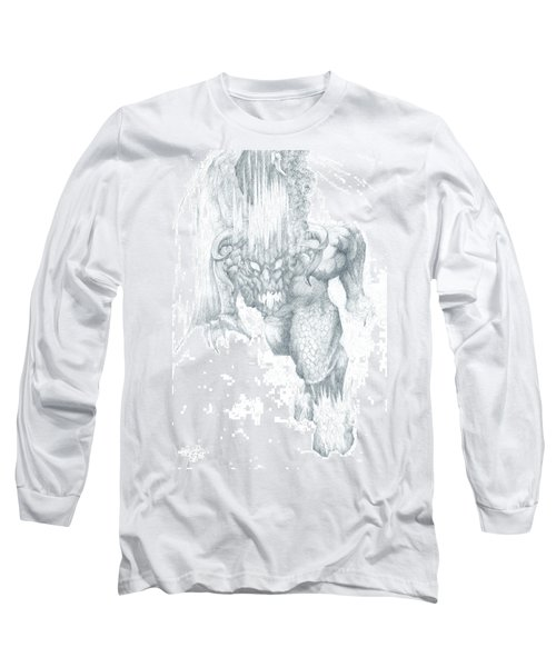 Long Sleeve T-Shirt featuring the drawing Balrog Sketch by Curtiss Shaffer