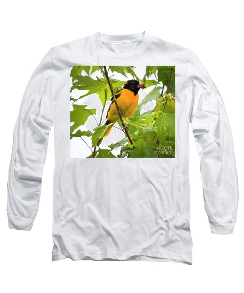 Long Sleeve T-Shirt featuring the photograph Baltimore Oriole With Raspberry  by Ricky L Jones