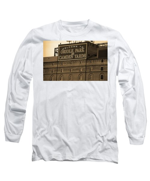 Baltimore Orioles Park At Camden Yards Sepia Long Sleeve T-Shirt