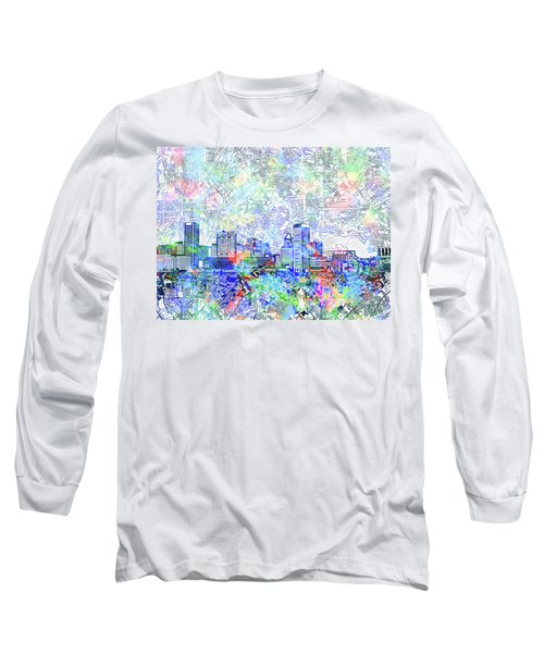 Long Sleeve T-Shirt featuring the painting Baltimore Skyline Watercolor 10 by Bekim Art