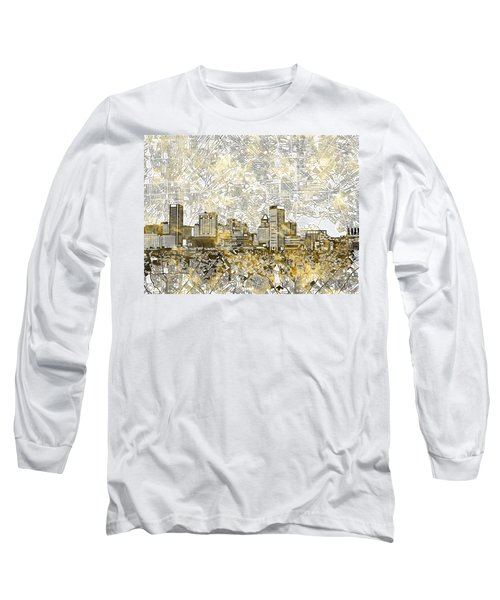 Long Sleeve T-Shirt featuring the painting Baltimore Skyline Watercolor 8 by Bekim Art