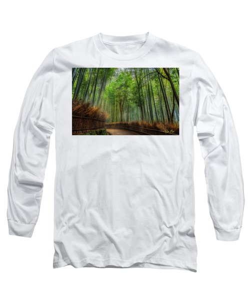 Long Sleeve T-Shirt featuring the photograph Bamboo Path by Rikk Flohr