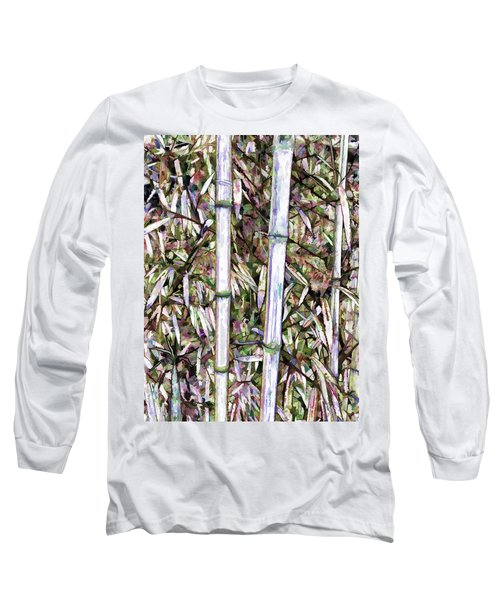 Long Sleeve T-Shirt featuring the painting Bamboo Stalks by Lanjee Chee