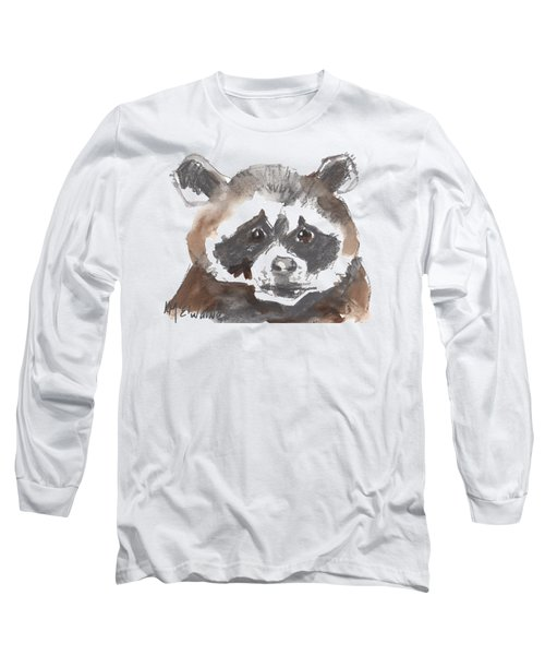 Bandit Raccoon Long Sleeve T-Shirt by Kathleen McElwaine