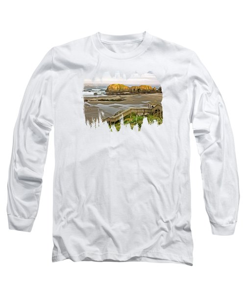 Bandon Beach Stairway Long Sleeve T-Shirt