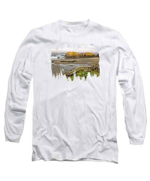 Bandon Beach Stairway Long Sleeve T-Shirt