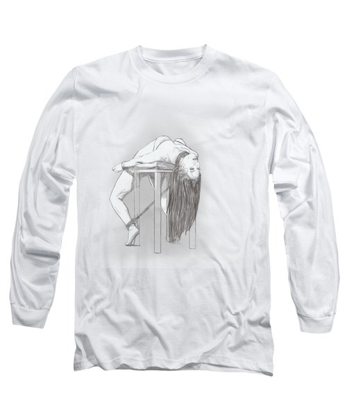 Long Sleeve T-Shirt featuring the mixed media Bar Chair Bw by TortureLord Art