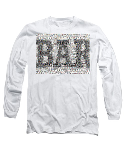 Long Sleeve T-Shirt featuring the mixed media Bar Sign Beer Label Mosaic by Paul Van Scott