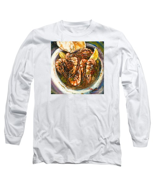 Barbequed Shrimp Long Sleeve T-Shirt by Dianne Parks