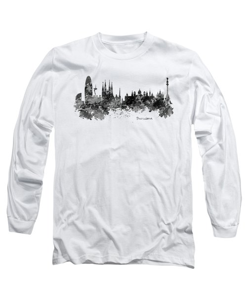 Barcelona Black And White Watercolor Skyline Long Sleeve T-Shirt by Marian Voicu