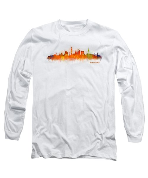 Barcelona City Skyline Hq _v3 Long Sleeve T-Shirt by HQ Photo