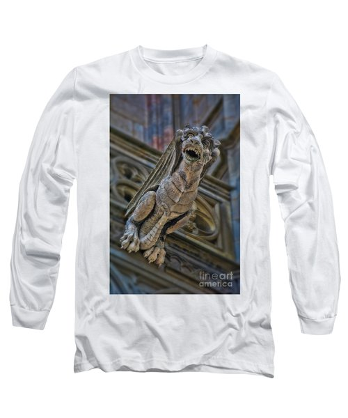 Long Sleeve T-Shirt featuring the photograph Barcelona Dragon Gargoyle by Henry Kowalski
