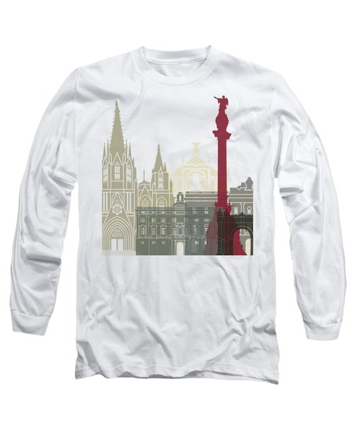 Barcelona Skyline Poster Long Sleeve T-Shirt by Pablo Romero