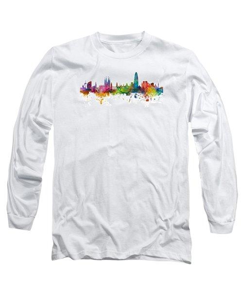 Barcelona Spain Skyline Panoramic Long Sleeve T-Shirt by Michael Tompsett