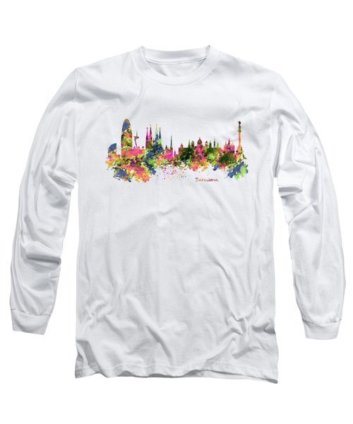 Barcelona Watercolor Skyline Long Sleeve T-Shirt by Marian Voicu