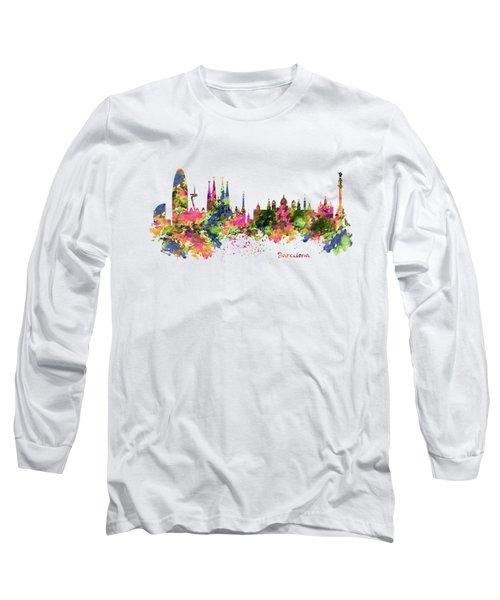 Barcelona Watercolor Skyline Long Sleeve T-Shirt