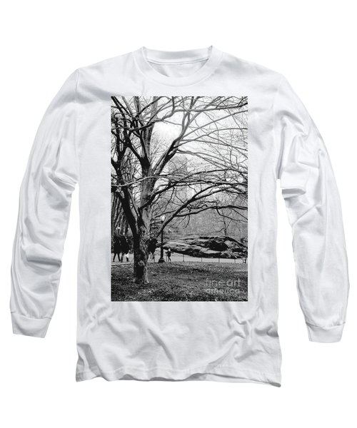 Bare Tree On Walking Path Bw Long Sleeve T-Shirt by Sandy Moulder
