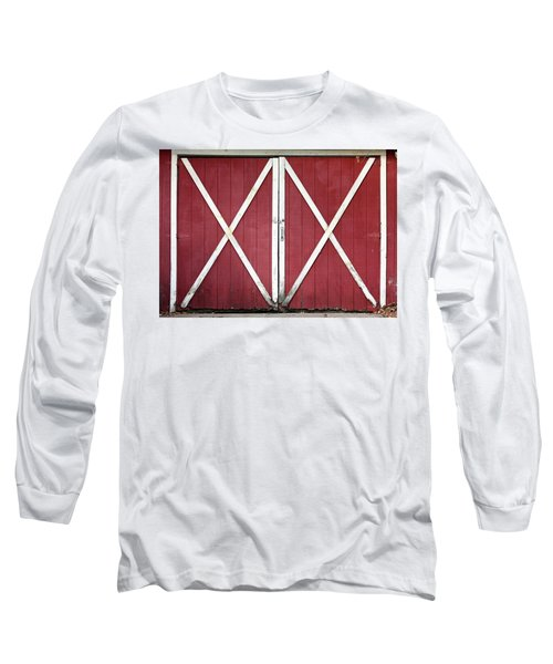 Long Sleeve T-Shirt featuring the photograph Red Barn Doors by Sheila Brown
